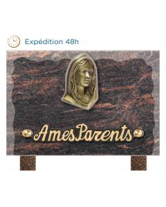 Plaque éclatée bronze Vierge Marie 12x18cm