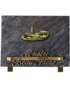 Plaque bronze village 12X18cm