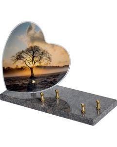 Plaque plexiglass coeur couché de soleil