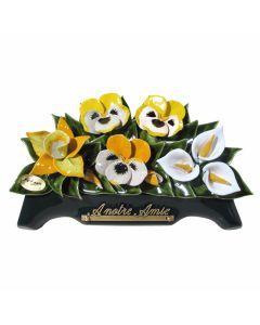 Arceau arums pensées et orchidées