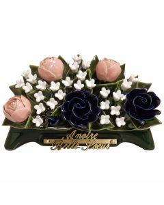 Arceau pivoines 3 couleurs et fleurettes blanches