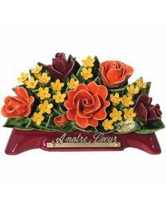 Arceau rose 2 couleurs et fleurettes jaunes