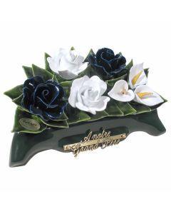 Arceau roses bleues et blanches et arums blancs