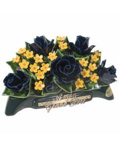 Arceau roses bleues et fleurettes jaunes