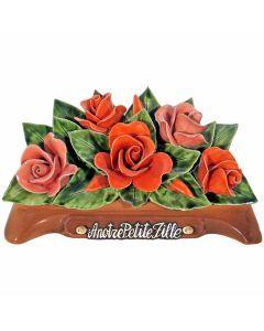 Arceau roses floralies et saumons