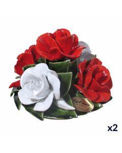 Bouquet de 5 roses rouges et blanches