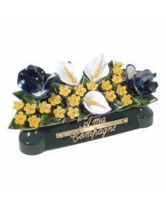 Devant de tombe arum iris et gypsophile 3 couleurs - 30 cm