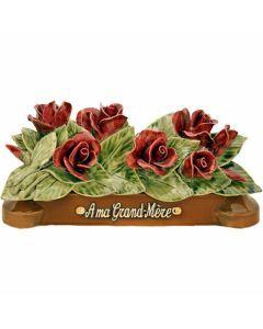 Devant de tombe boutons de roses Grenat - 35 cm
