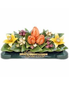Devant de tombe jonquilles gypso et tulipes - 35 cm