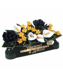 Devant de tombe roses arums et gypsophiles 3 couleurs - 30 cm