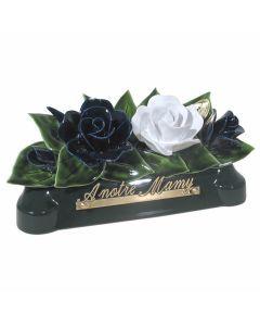 Devant de tombe roses bleues et blanches - 30 cm