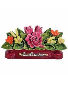 Devant de tombe roses pâquerettes et mimosas - 30 cm