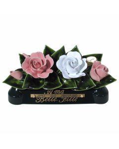 Devant de tombe roses roses pâle et blanches - 30 cm