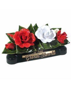 Devant de tombe roses rouge et blanches - 30 cm