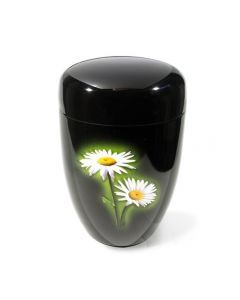 Dunn - Urne laquée noir motif marguerite