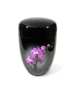 Dunn - Urne laquée noir motif orchidée