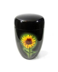 Dunn - Urne laquée noir motif soleil