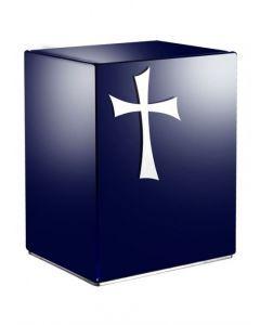 Eternel bleu - Urne inox motif croix