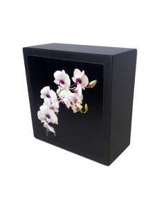 Karhe - Urne en bois de chêne noir motif orchidée blanche