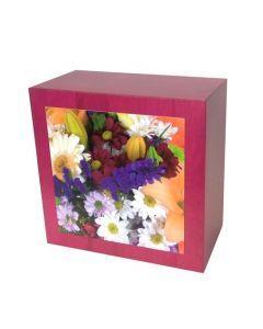 Karhe - Urne en bois de chêne rouge motif bouquet de fleurs