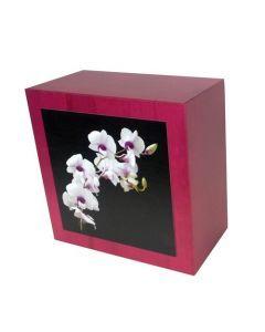 Karhe - Urne en bois de chêne rouge motif orchidée