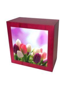 Karhe - Urne en bois de chêne rouge motif tulipe