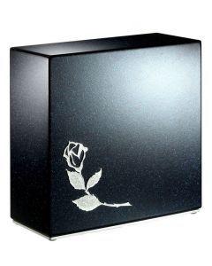 Loha bleu pailleté - Urne inox motif rose