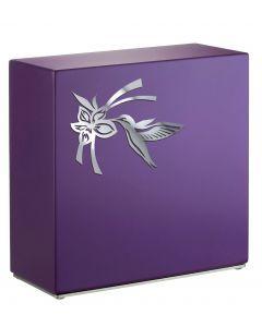 Loha violet - Urne inox motif colibri