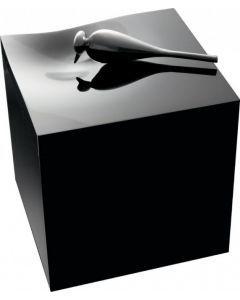 Meise - Urne oiseau acier noir brossé