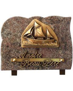 Plaque avec bronze voilier 15x20cm