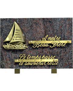 Plaque avec bronze voilier 17x25cm