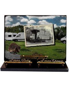 Plaque avec décor caravanes et hérisson 25x35cm