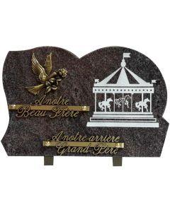 Plaque avec gravure manège et bronze colombe 20x30cm