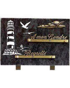 Plaque avec gravure phare et bronze nuages 17x25cm