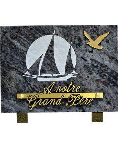 Plaque avec motif acrylique de voilier 15x20cm