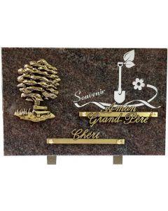 Plaque bronze arbre et gravure pelle 20x30cm