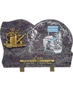 Plaque bronze arrosoir et gravure chaise en couleur 20x30cm