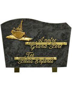 Plaque bronze bateau 17x25cm