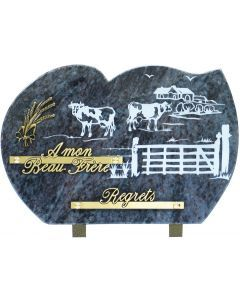 Plaque bronze bronze blé et gravure champs de vaches 20x30cm