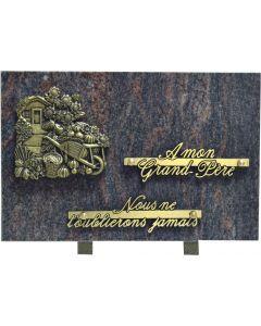 Plaque bronze cabane de jardin et brouette 20x30cm