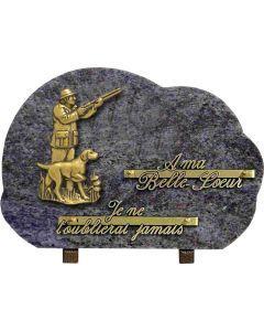 Plaque bronze chasseur 20x30cm