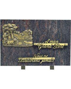 Plaque bronze chasseur et champs 20x30cm