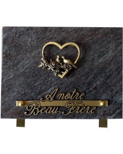 Plaque bronze coeur colombe