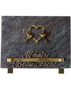 Plaque bronze coeur oiseaux