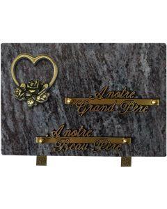 Plaque bronze coeur rose