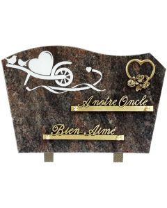 Plaque bronze coeur rose et gravure brouette coeur 20x30cm