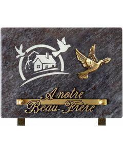Plaque bronze colombe