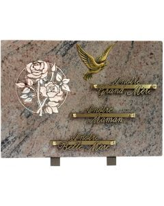 Plaque bronze colombe rose