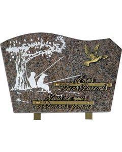 Plaque bronze de colombe et gravure pêcheurs 20x30cm