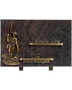 Plaque bronze de pêcheur 20x30cm